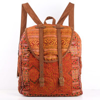 Orange Southwest Backpack Native Tribal Rucksack Hmong Textile Hippie, Boho, Gypsy Style