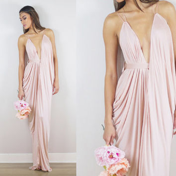 Blush Bridesmaids Dress, Blush Prom Dress, Blush Draped Gown, Blush Maxi Dress, Rose Bridesmaid Dress, Pink Bridesmaid, Blush Grecian Dress