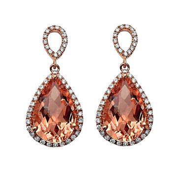7.70tcw Pear Morganite with Diamonds in 14K Rose Gold Dangle Drop Earrings