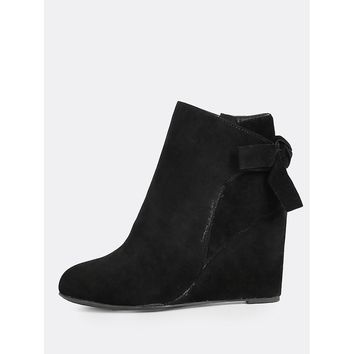 Bow Accent Wedge Heel Boots BLACK