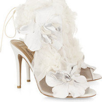 Valentino | Leather and tulle-embellished mesh sandals | NET-A-PORTER.COM