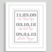 8x10 Important Special Dates Art Print Wedding Engagement Bridal Shower Custom Gift