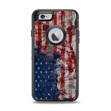 The Grungy American Flag Apple iPhone 6 Otterbox Defender Case Skin Set