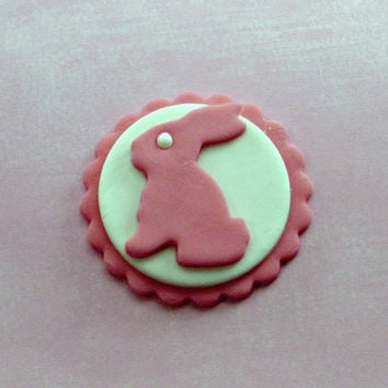 Sweet little Pink Easter Bunny. Fondant Cupcake, Cake, Cookie Topper. Set of 12 (one dozen)