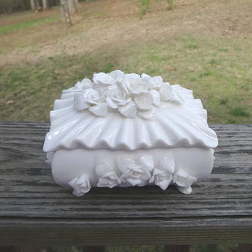 1940s Vintage Lenwile China White Trinket Box with Lid, Ardalt Verithin from Japan, Applied Roses, Footed Dish, Label Intact, Vintage China
