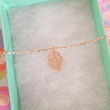 SALE-Rose Gold Leaf Necklace,Women's Necklace,Cute Necklace,Bridesmaid Gift,Dainty Necklace,Mother's Day Gift,Valentine's Day Gift,Birthday