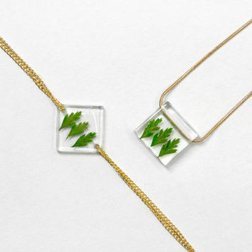 Real Flower Jewellry, Necklace and Bracelet, Resin, Ice Box, Freeze, Flower Necklace, Green Leaves, Christmas Gift