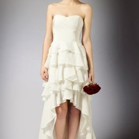 White Chiffon Sheath/Column Ruffles Sweetheart Knee-length Wedding Dress DSSRTD001 at Dresseshop