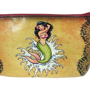 Rockabilly Vintage Tattoo Mermaid and Anchor Small Flat Pouch