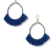Seed Bead Hoop Earrings With Fringe  - Lapis