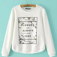White Floral Graphic Print Long Sleeve Sweatshirt