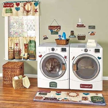 Laundry Room Decor Wall Plaque Curtains Wash Day Country Primitive NEW