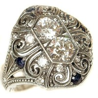 Sterling Silver Art Deco Filigree Cubic Zirconia & Sapphire Ring (sz7)