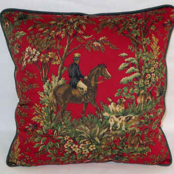 "Red Equestrian Pillow, Ralph Lauren Fabric, Ainsworth  Canterbury, 18"" Square, Horse Lovers, Verdure Scenic Toile Ready Ship Cover & Insert"