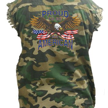 Men's Camo Sleeveless Denim Shirt USA Flag Proud To Be American Denim Vest