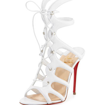 Christian Louboutin Amazoula Lace-Up Red Sole Sandal, White
