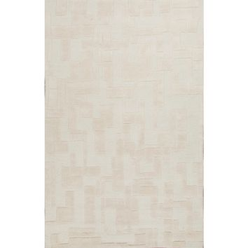 Lounge Coll. Hand-Tufted Looped/Cut Wool Ivory/White Zenon Area Rug (5 x 8)