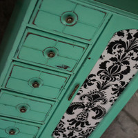 Jewelry Box, Vintage EX-Large Hand Painted Retro Green