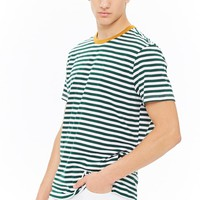 Striped Contrast-Trim Tee