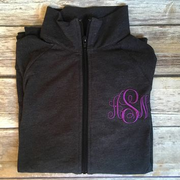 Monogrammed Full Zip Workout Jacket