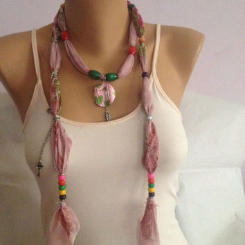 Pink Jewelry Necklace Scarf - Bohemian Scarf With Beads - Stone Pendant  Scarf - Bridesmaid Gift