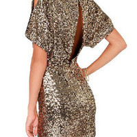 Fashion Homecoming Dress 2016 Gold Sequins Backless Short Sleeve Mini Bodycon Dress