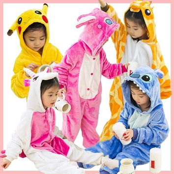 kids Unicorn Pajamas Children Pyjamas For Boys Stitch Panda Pikachu Cosplay Anime Animal Girls Onesuit Kids Sleepers Flannel Pjs