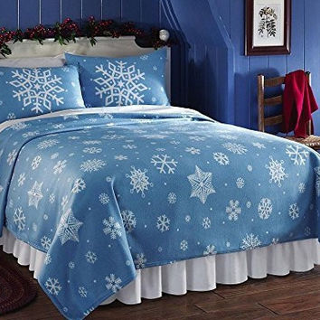 Snowflake Coverlet Fleece Lightweight Blanket With 2 Matching Shams