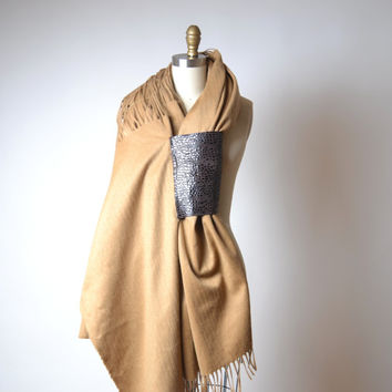 Women's Wool Scarf - Leather and Wool Scarf - OOAK Scarf Shawl - Valentine's day gift for her
