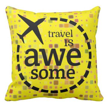 Travel is Awesome plane design Throw Pillow