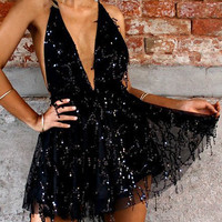 Black Halter Plunge Neck Backless Sequins Romper Playsuit