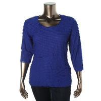 JM Collection Womens Shutter Pleat Ruffled Pullover Top