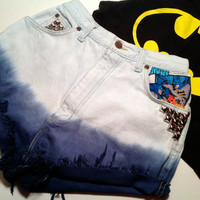 High Waisted Batman Fabric Ombre Shorts Studs Hipster Size 24 XS
