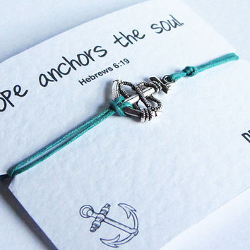 Hope Anchors The Soul Friendship Bracelet Wish with Silver Anchor Charm - Featuring the biblical quote Hebrews 6:19 - Party, Wedding Favour