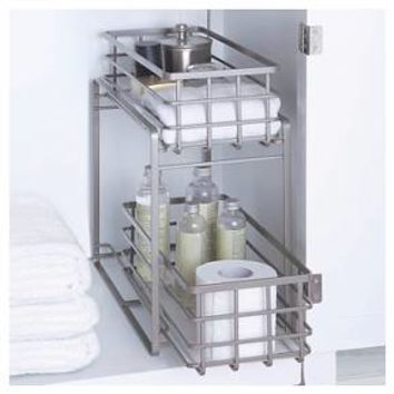 Under Vanity Two Tier Slide Out Utility Storage Bin Champagne 88 Main