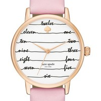 kate spade new york 'metro - chalkboard' leather strap watch, 34mm | Nordstrom