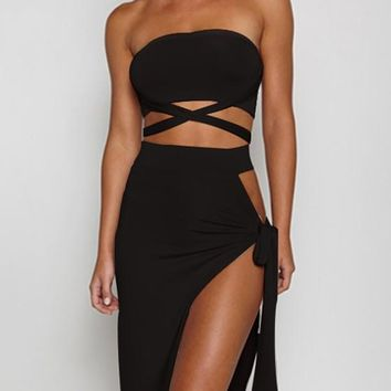 Black Backless Tie Back Slit Multi Way High Waisted Party Maxi Dress