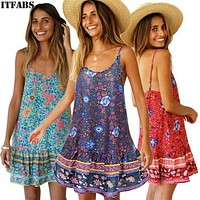 Hot Sale 2019 New Women's Summer Boho Floral Sleeveless Casual Long Maxi Evening Party Club sexy Beach Dress Sundress