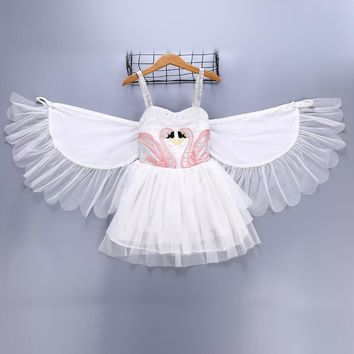 Baby Girls Flamingo Tutu Dresses with Moveable Wings Children Birthday Princess Party Dress Halloween Costumes