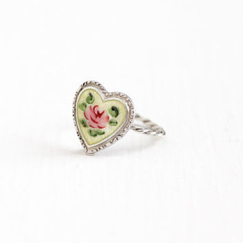 Vintage Sterling Silver Pink Rose Flower Enamel Heart Ring - 1940s Size 3 Light Yellow Guilloche Floral Dainty Romantic Love Jewelry