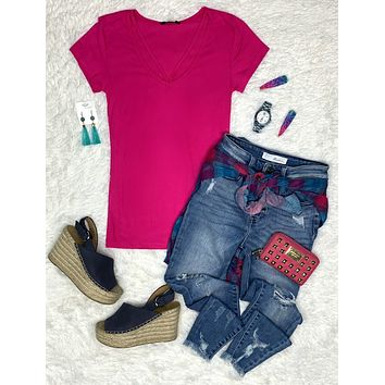 Goes With Everything V-Neck Top - Pink