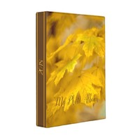 Yellow autumn maple leaves. Add you text and photo Mini Binder