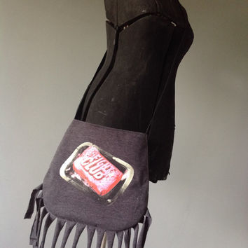 FIGHT CLUB - Upcycled Rock T-Shirt Fringe Purse - ooak