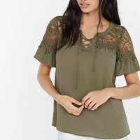 Lace-up Crochet Yoke Blouse from EXPRESS
