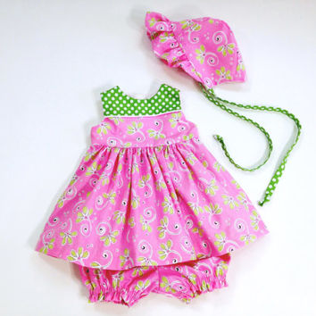 3 to 6 month baby dress spring outfit infant set baby bonnet baby outfit spring dress pink floral dress summer dress baby shower new baby