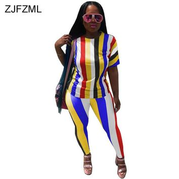 f87b3f196d4535 ZJFZML 2018 Rainbow Striped Sexy 2 Two Piece Set Women Short Sleeve T-Shirt  Top