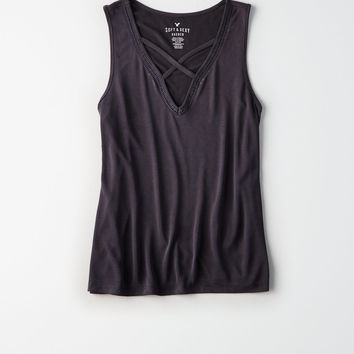 AE Cross Front Tank Top, Washed Black