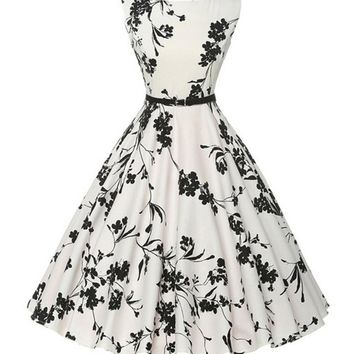 New Arrival Classic Women Vintage 1950's Floral Black and White Party Picnic Dress Hebborn Style Evening Dress