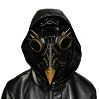 Burlesque Black PU Leather and Resin Rivet Plague Bird Nose Mask Gas Mask Retro Steampunk Cosplay Halloween Gothic Mask