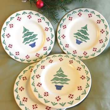 Christmas Salad Plates Pfaltzgraff Nordic Christmas Pattern 8 inch Vintage Ceramic Dishes Holiday Winter Themed Serving Ware Green Red Blue